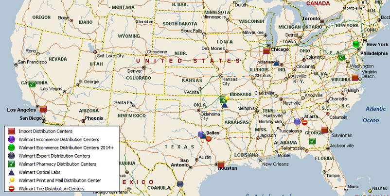 Walmart Specialty Distribution Network Map